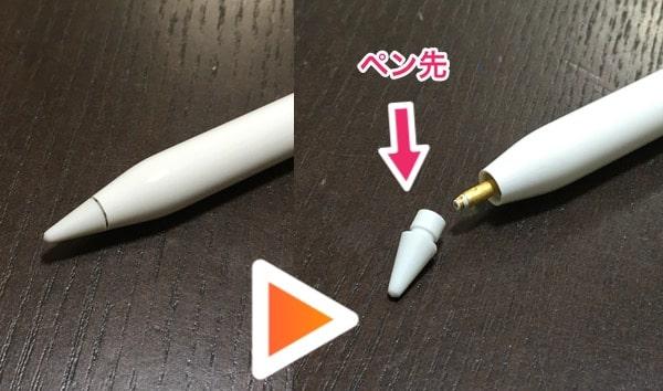 Apple Pencil 各部の名称の説明:ペン先