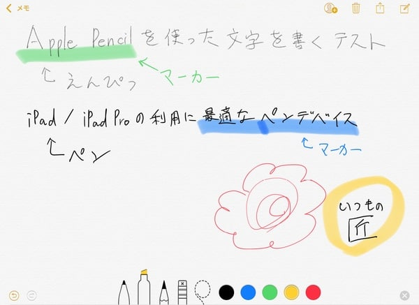 Apple Pencil 手書き文字をメモに書いた例
