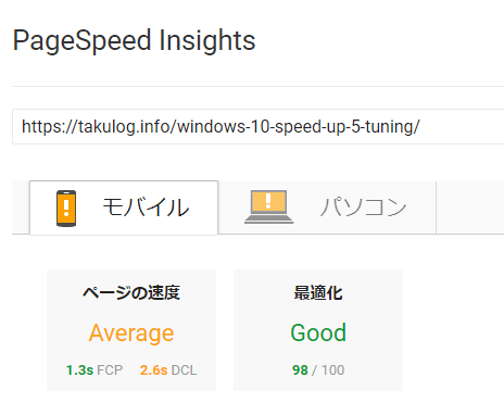 pagespeed cocoon導入後の結果