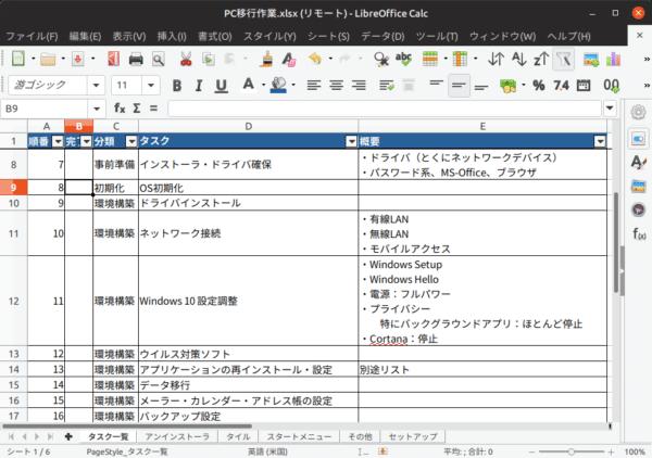 LibraOffice Calc で XLSXファイルを読む