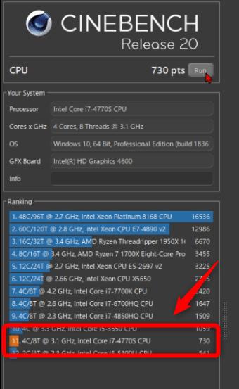 旧メインデスクトップのCinebench結果。旧世代のCore i7の性能不足が明らかに