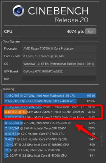 新メインデスクトップのCinebench結果。Ryzen 7の性能はさすがに速いです!