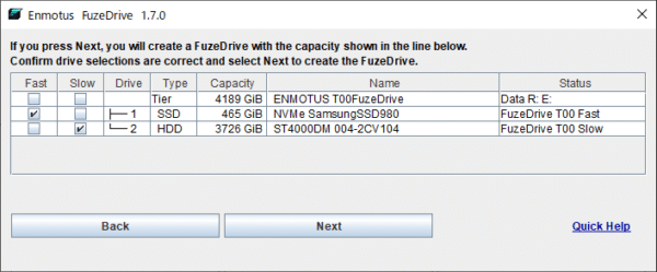 FuzeDrive 設定手順5