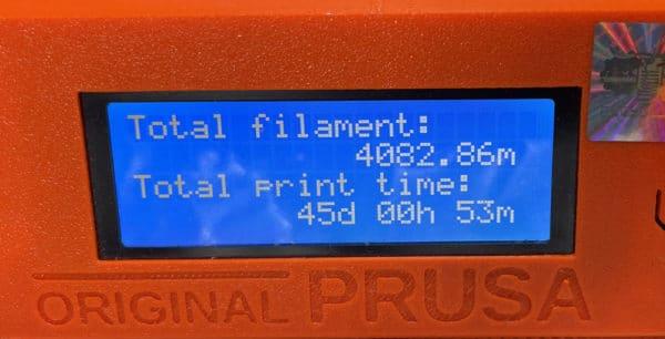 Prusa i3 MK3S 匠の印刷統計情報