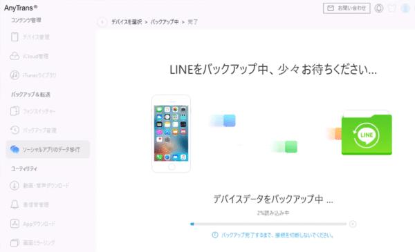 LINEメッセージのバックアップ中の画面です。