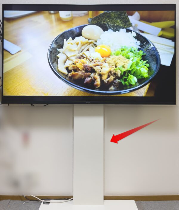 大型液晶対応の壁寄せテレビ台を使用して、今回の大画面液晶4Kビエラは設置してみました。部屋が広くなって狙い通りでしたね。