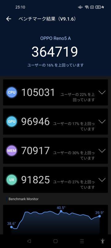 Antutu Benchmarkのベンチマーク結果、全体スコアは364718、CPUは105031、GPUは96946、メモリーは70917、UXは91825でした。