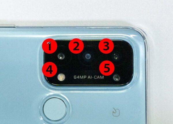 OPPO Reno5A カメラ位置で左上から1、2、3,下の段は4,5 です。
